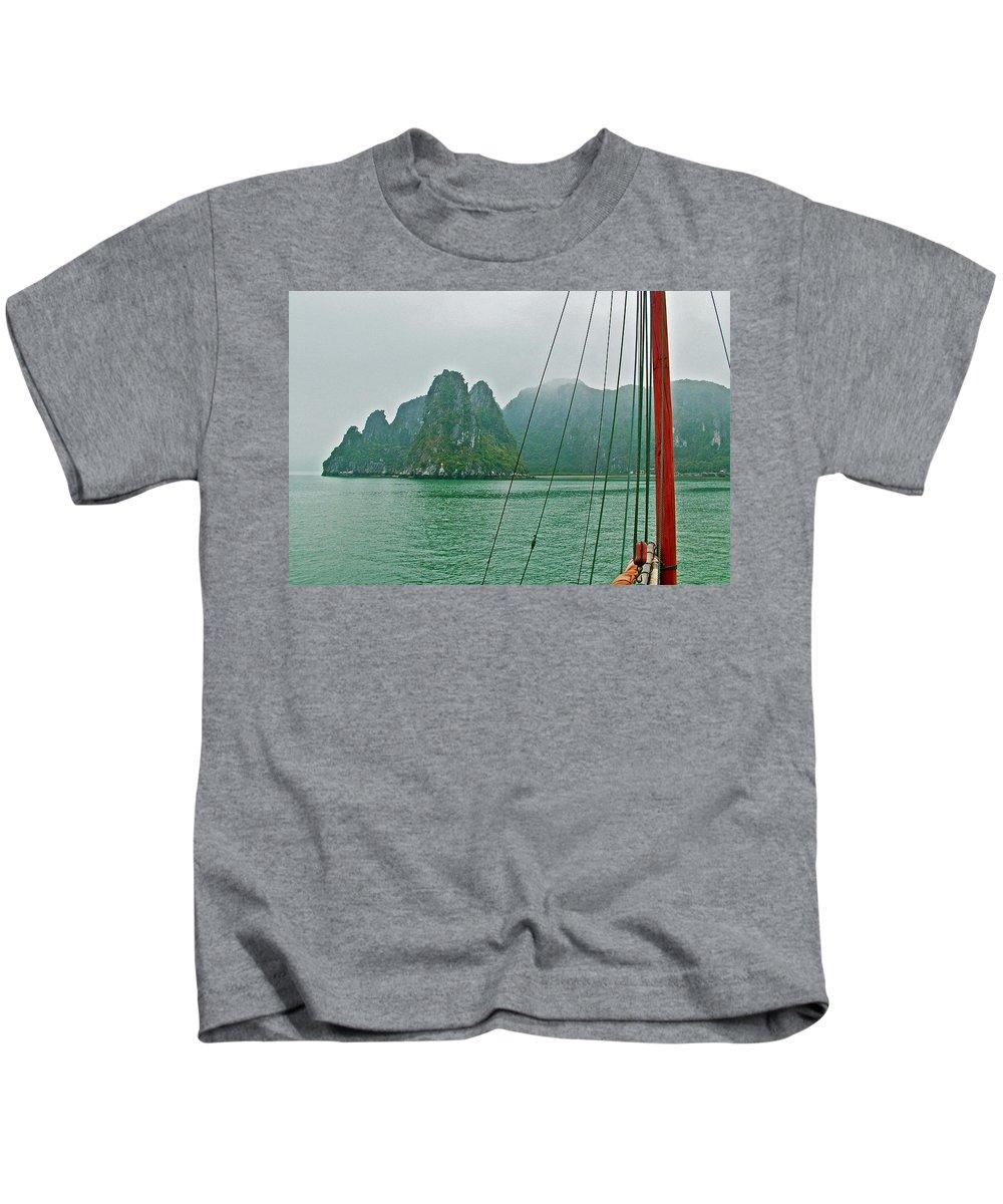 Ha Long Bay's Limestone Islands Kids T-Shirt featuring the photograph Ha Long Bay's Limestone Islands-vietnam by Ruth Hager