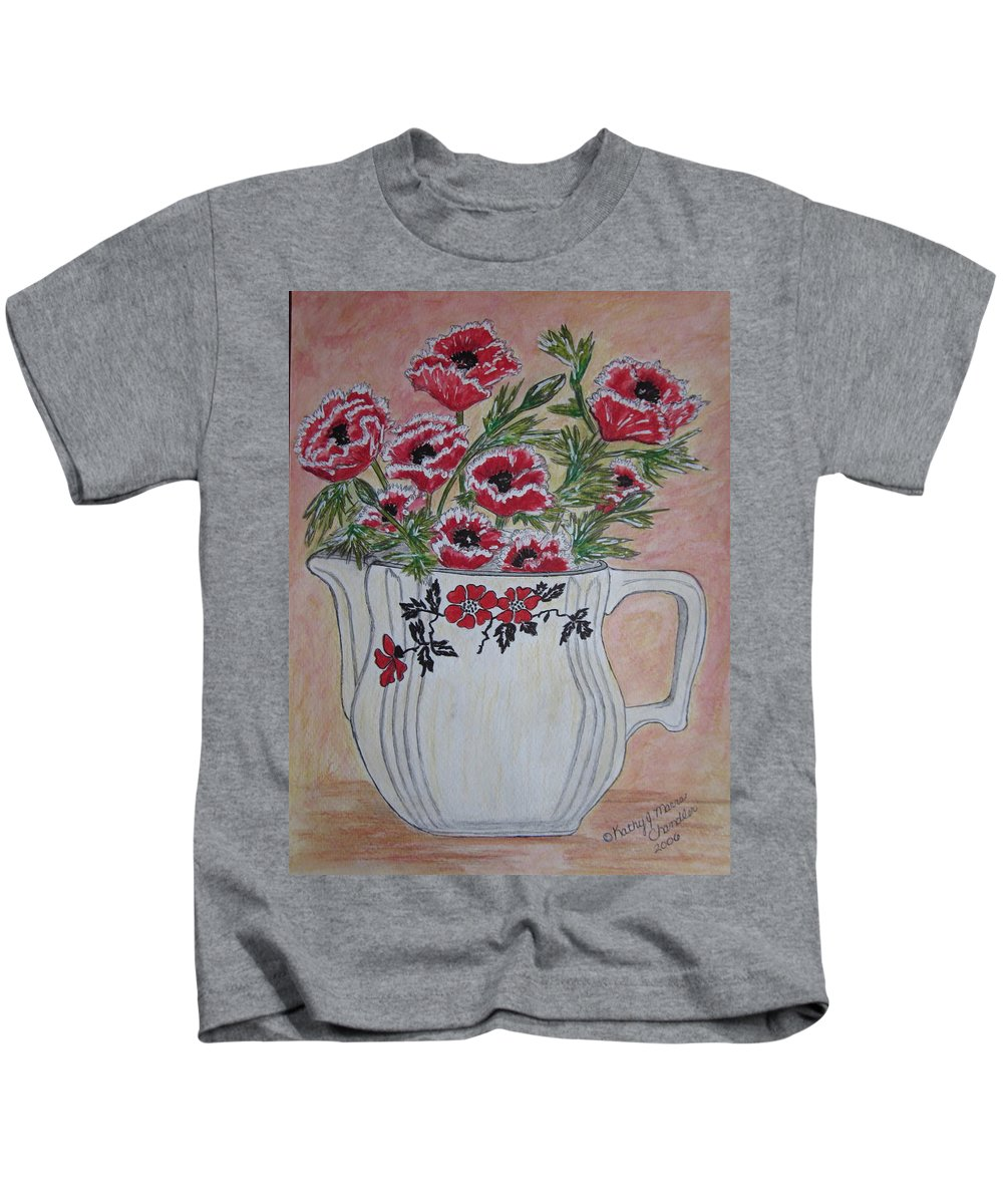 Hall China Kids T-Shirt featuring the painting Hall China Red Poppy And Poppies by Kathy Marrs Chandler