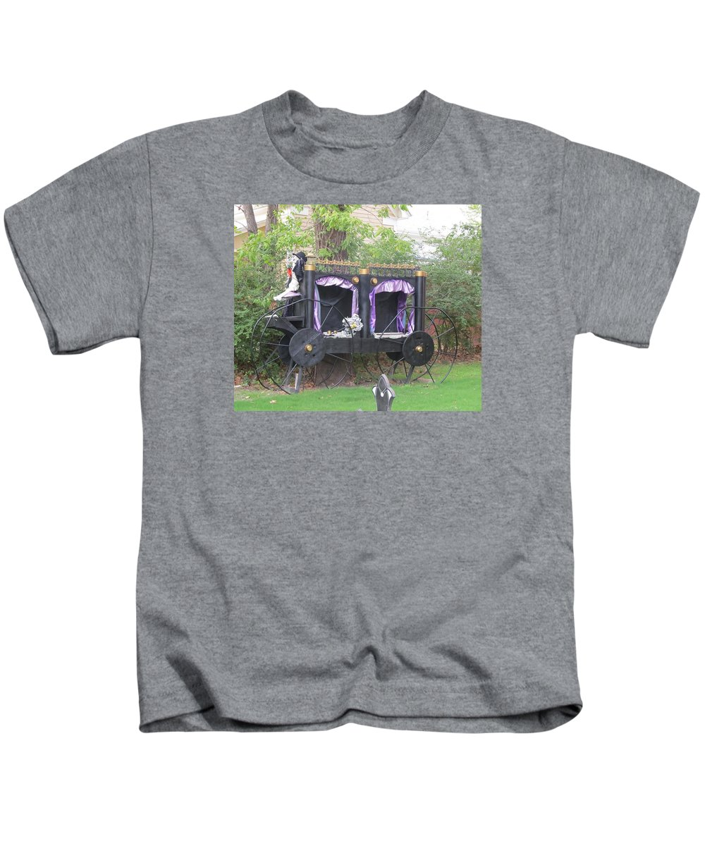 Haunted Carriage Kids T-Shirt featuring the photograph Halloween Carriage by Donna Wilson