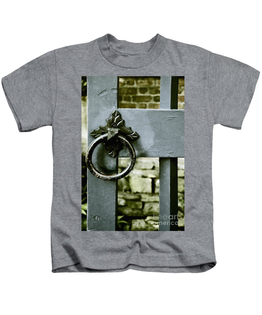 Gate Kids T-Shirt featuring the photograph Handle On Blue by Margie Hurwich