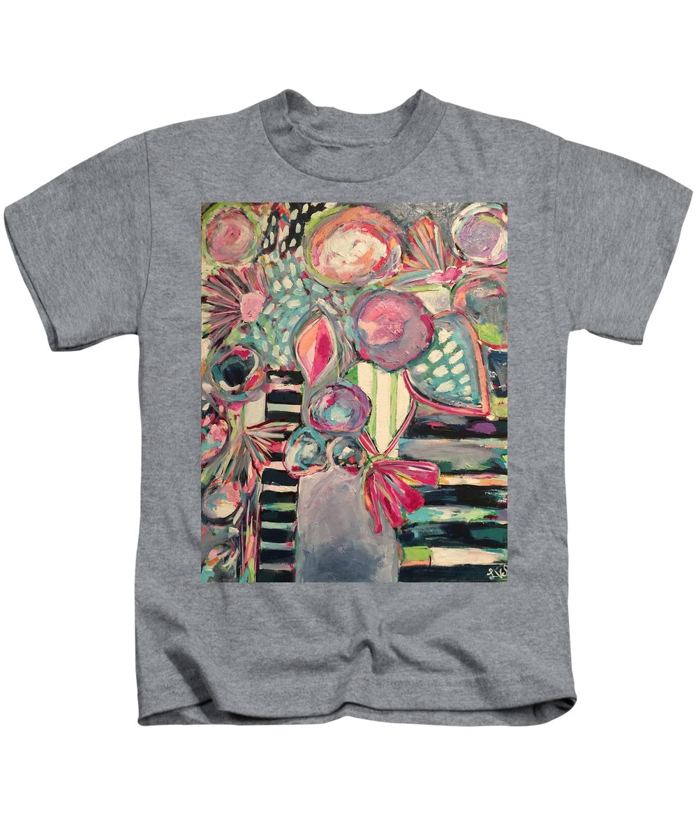 Flowers Kids T-Shirt featuring the painting Happy Go Lucky Flowers by Laura Kathleen