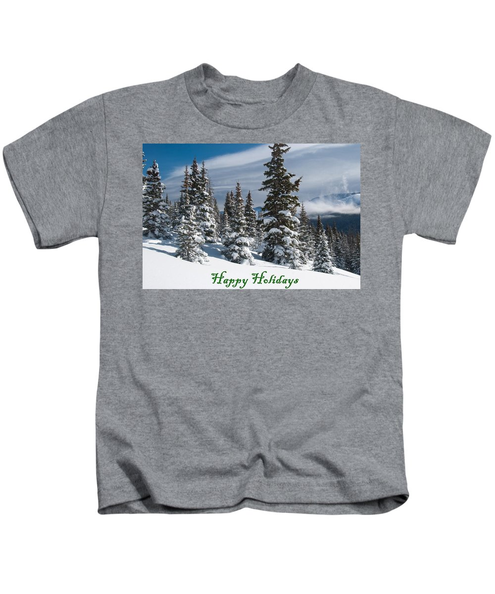Happy Holidays Kids T-Shirt featuring the photograph Happy Holidays - Winter Trees And Rising Clouds by Cascade Colors