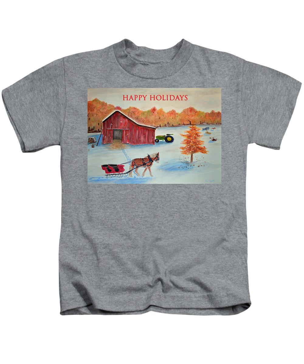 Greeting Kids T-Shirt featuring the painting Happy Holidays Card by Ken Figurski