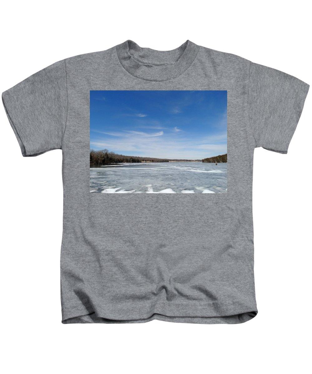 Cloud Kids T-Shirt featuring the photograph Hard Frozen Lake by Greg Boutz
