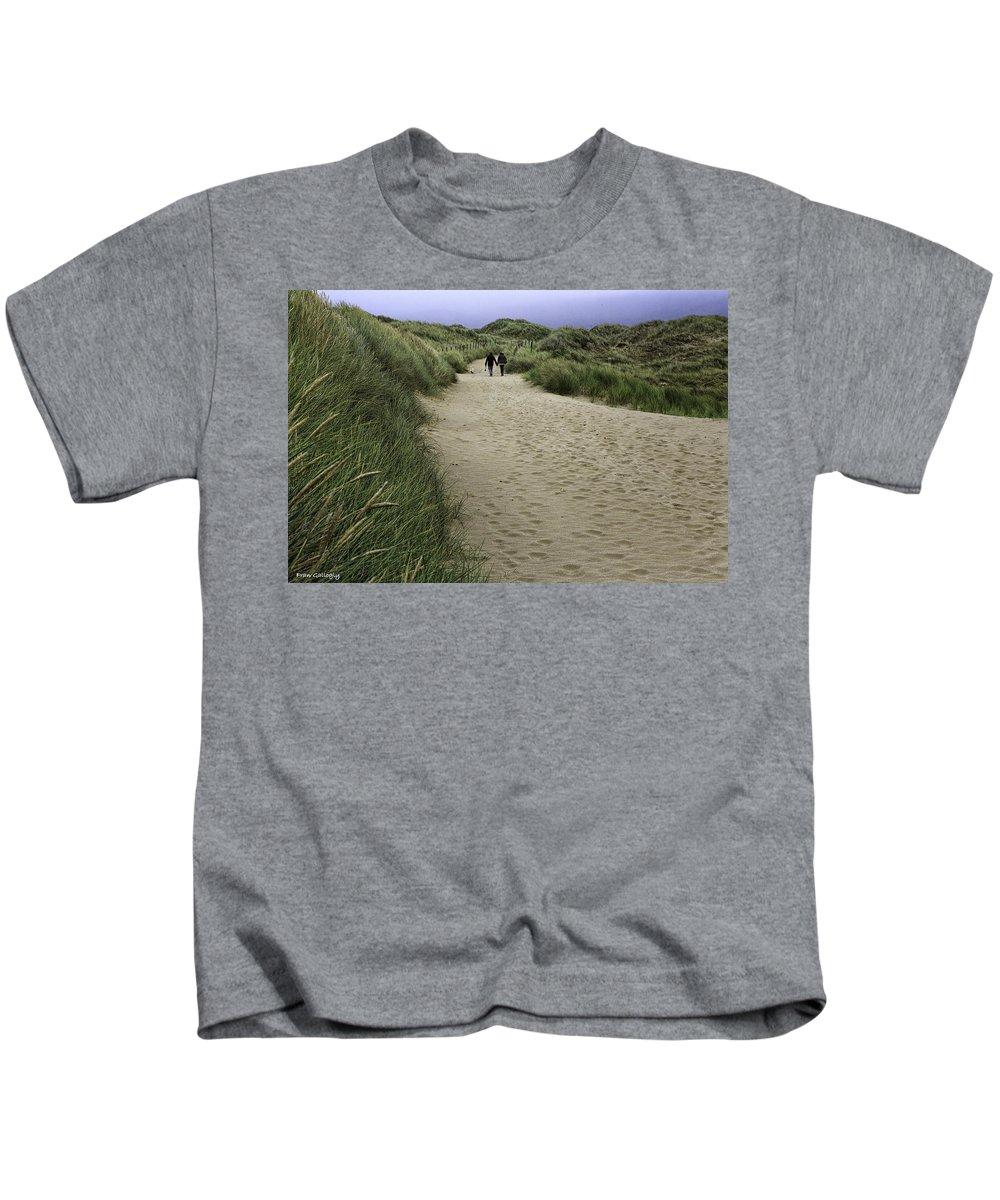 Harlech Kids T-Shirt featuring the photograph Harlech Dunes by Fran Gallogly
