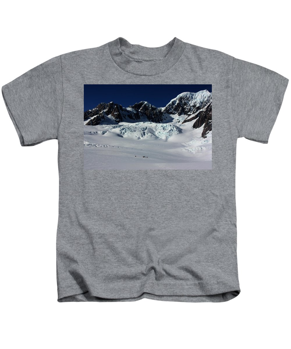 Amanda Stadther Kids T-Shirt featuring the photograph Helicopter New Zealand by Amanda Stadther