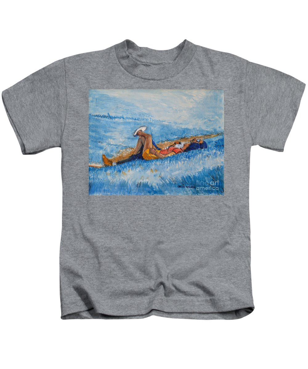 Young Kids T-Shirt featuring the painting Hello Young Lovers In Blue by Charles M Williams