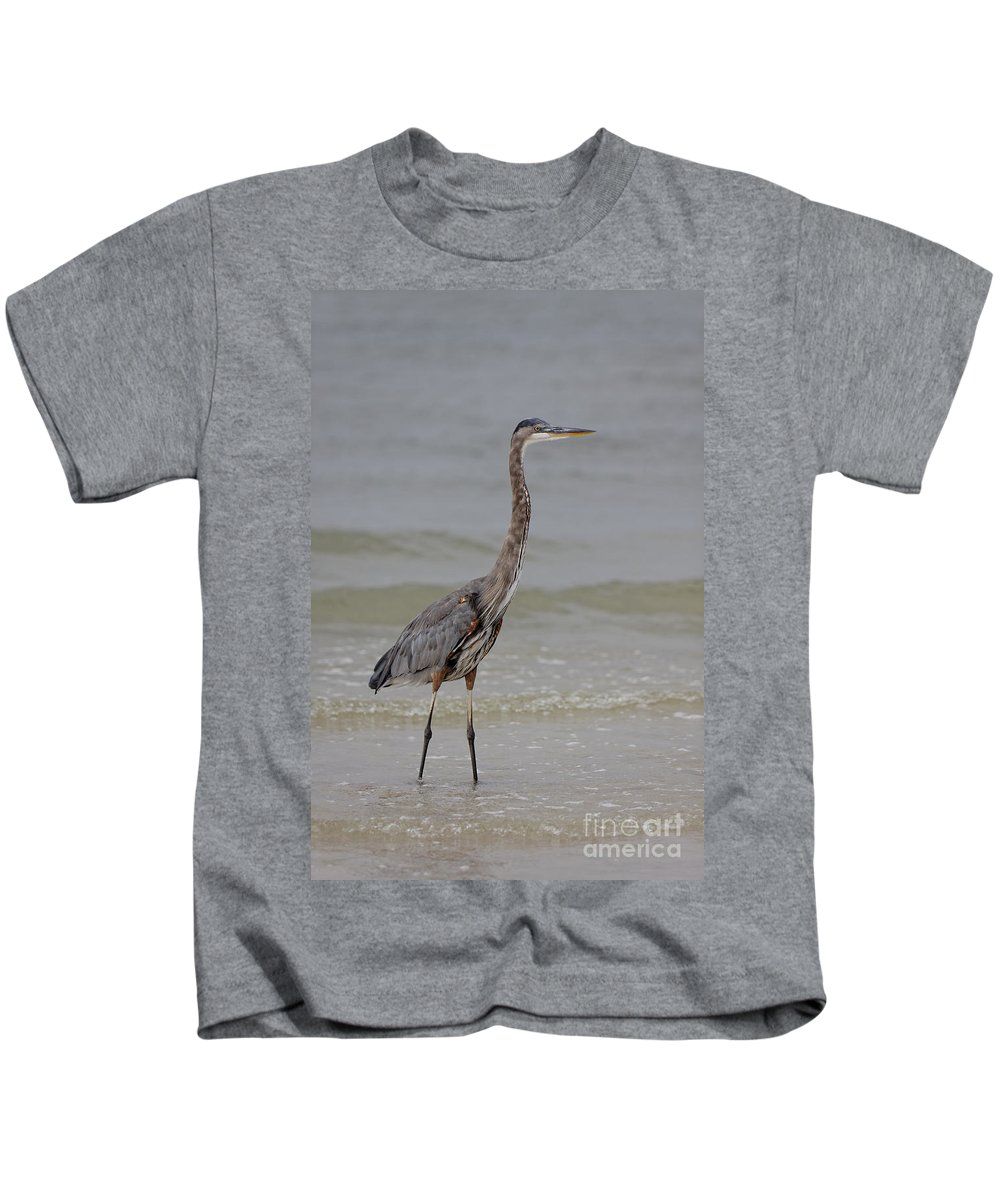 Great Blue Heron Kids T-Shirt featuring the photograph Heron by Rick Kuperberg Sr