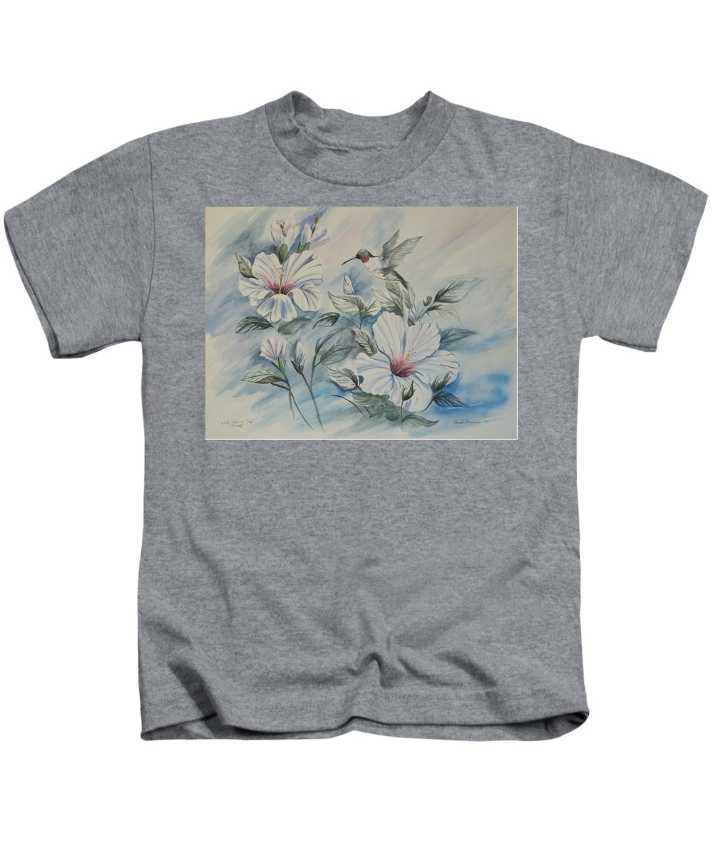 White Hibiscus Kids T-Shirt featuring the painting Hibiscus in Spring by Wanda Dansereau