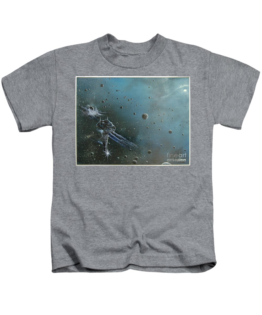 Astro Kids T-Shirt featuring the painting Hiding In The Field by Murphy Elliott