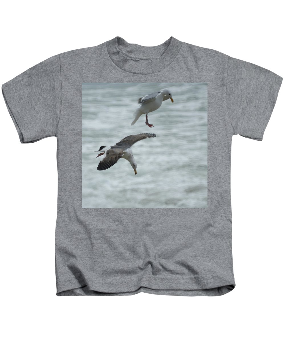 Seagull Kids T-Shirt featuring the photograph High Dive by Ernie Echols