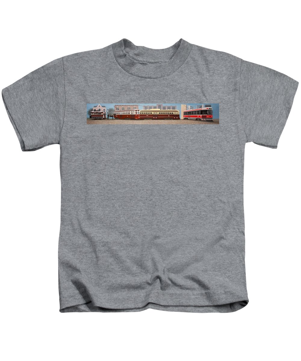 Streetscapes Kids T-Shirt featuring the painting History Of The Toronto Streetcar by Kenneth M Kirsch