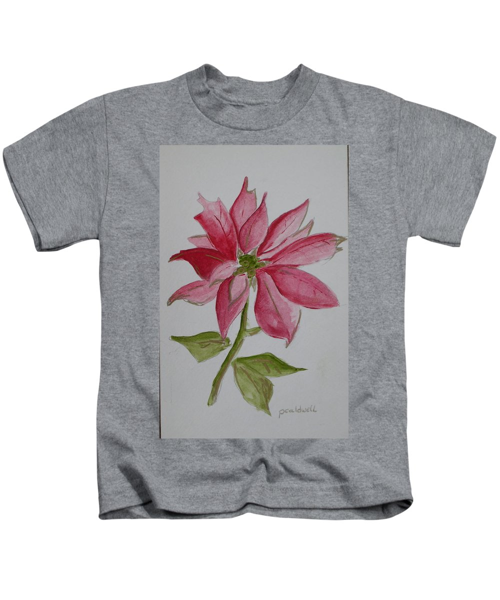 Flower Christmas Kids T-Shirt featuring the painting Holiday Flower by Patricia Caldwell