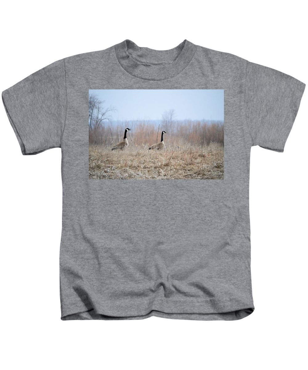 Geese Kids T-Shirt featuring the photograph Honkers by Bonfire Photography