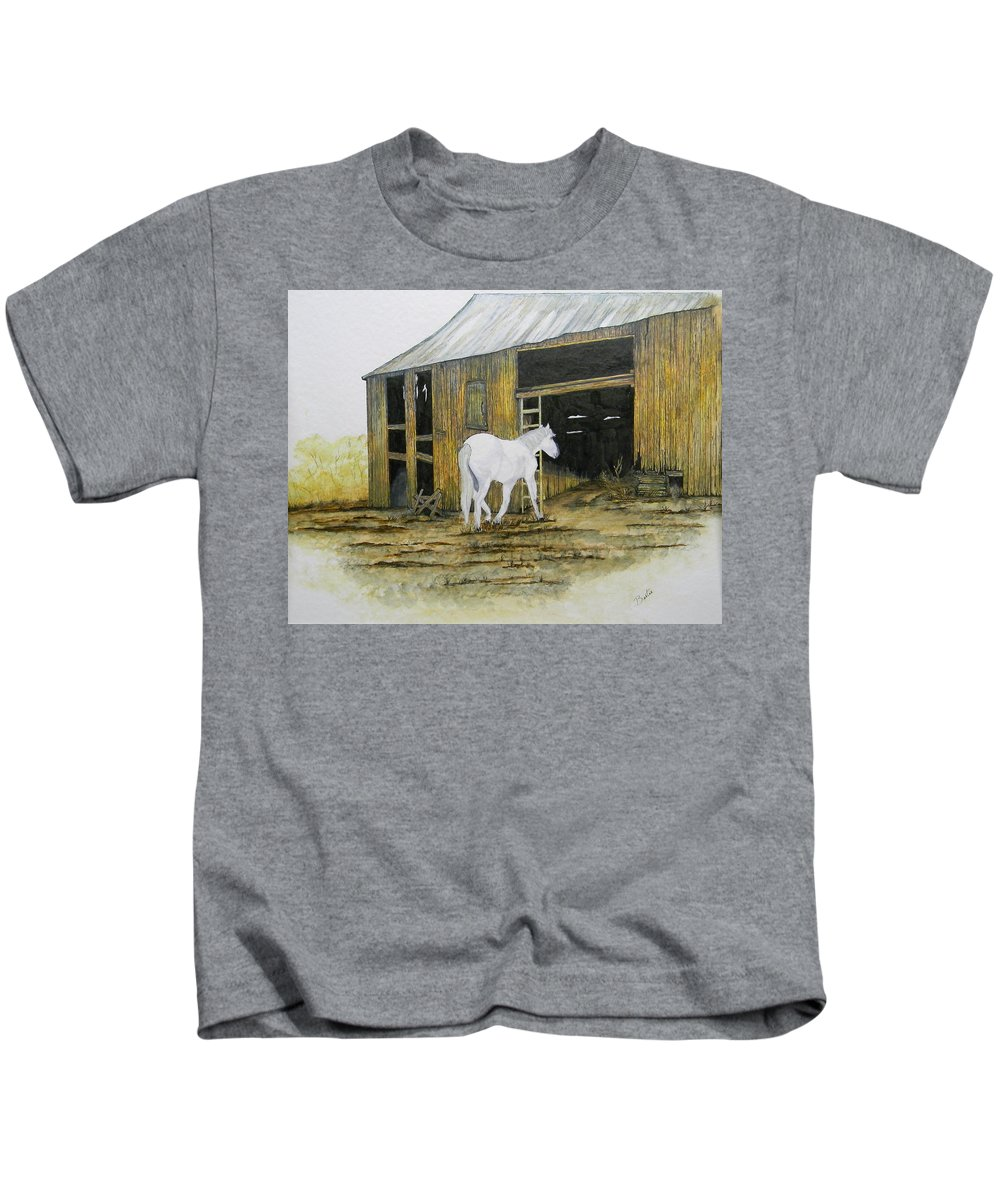 Horse Kids T-Shirt featuring the painting Horse And Barn by Bertie Edwards
