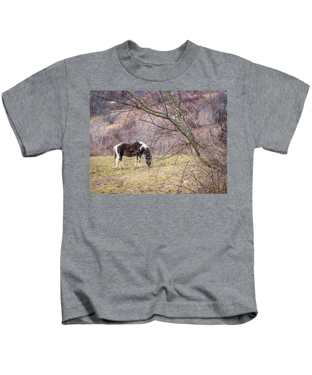 Winter Kids T-Shirt featuring the photograph Horse And Winter Berries by DAC Photography
