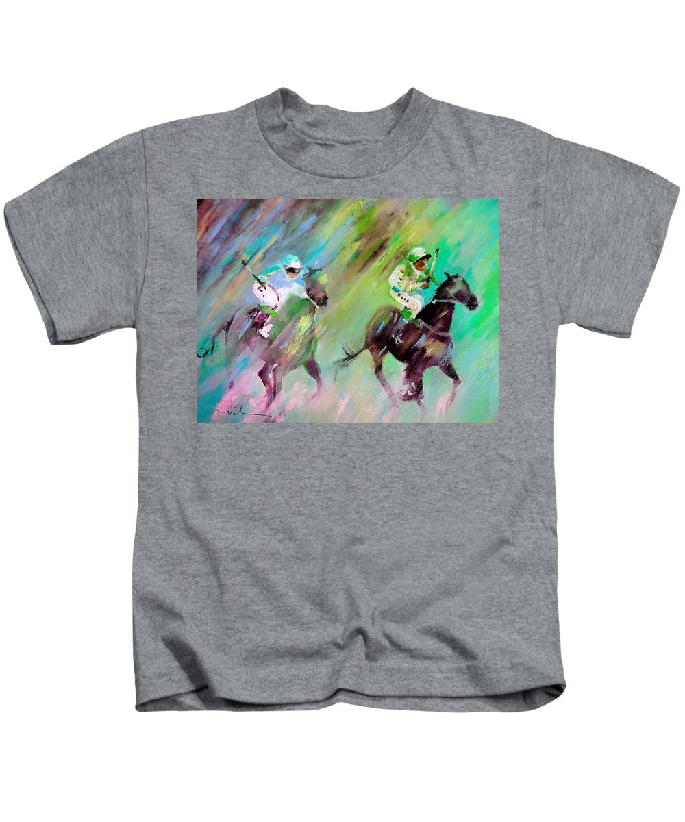 Modern Acrylics Painting In Impressionist Expressionist Style And Vibrant Colours Of Horses Racing Kids T-Shirt featuring the painting Horse Racing 04 by Miki De Goodaboom