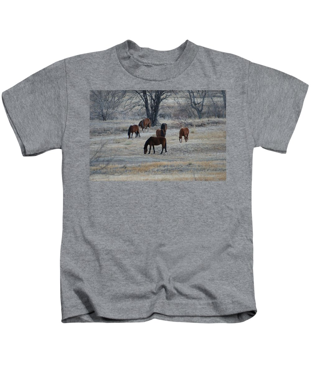 Fields Kids T-Shirt featuring the digital art Horses by Ernie Echols