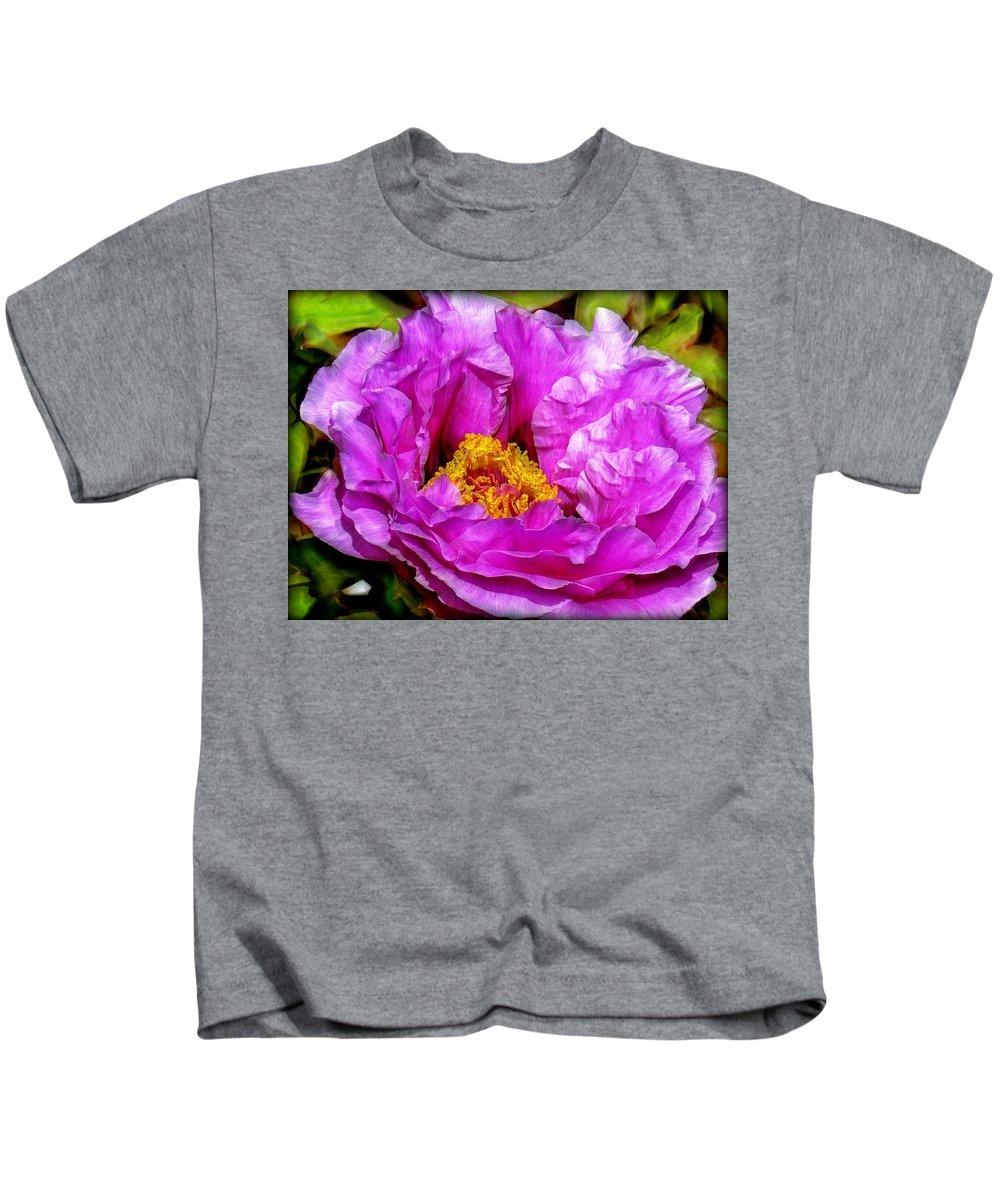 Flower Kids T-Shirt featuring the digital art Hot-pink Flower by Lilia D