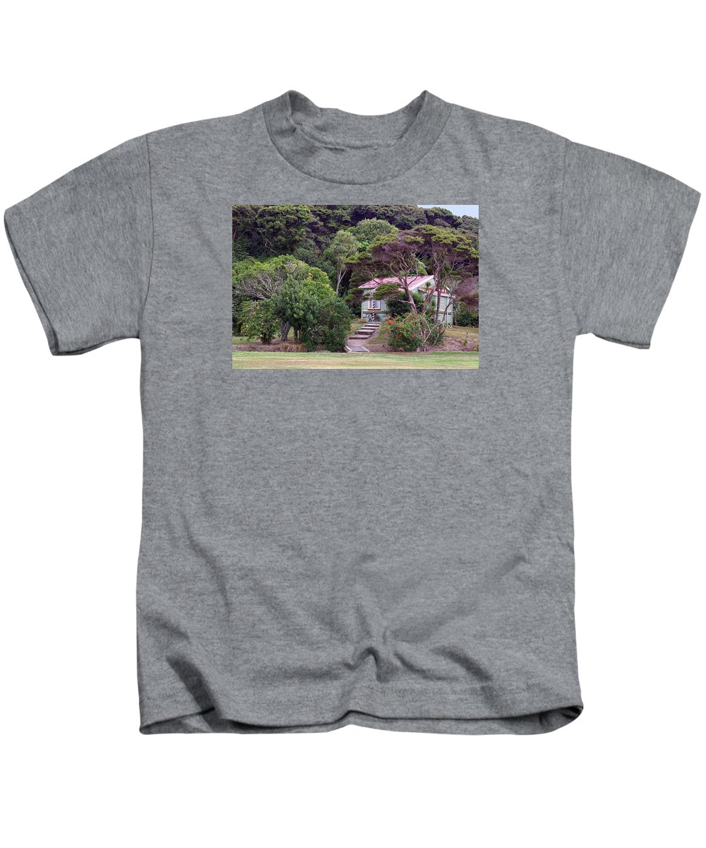 Foreign Kids T-Shirt featuring the photograph House And Garden Waitamgi by Linda Phelps