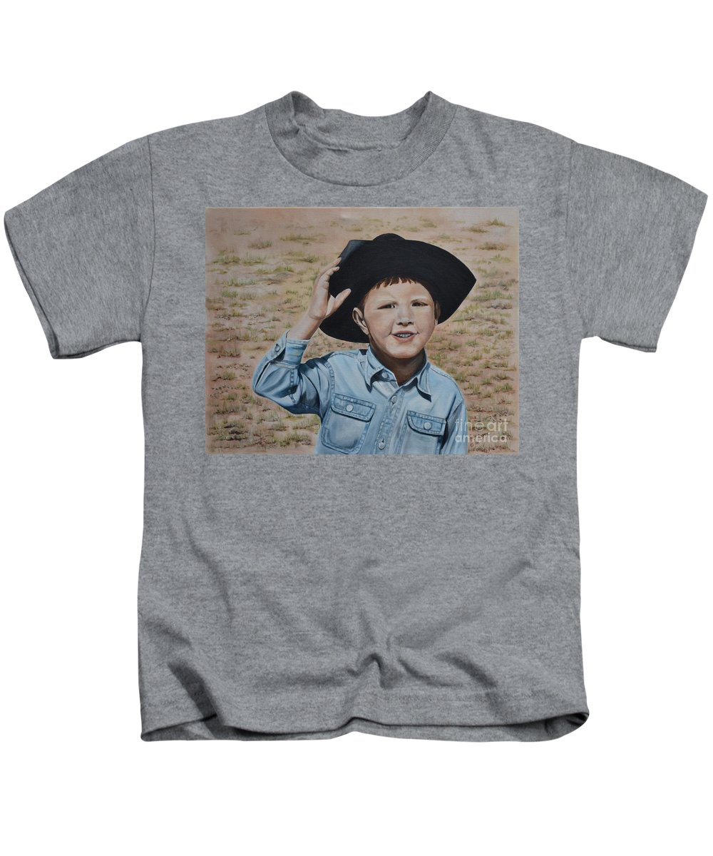 Usa Kids T-Shirt featuring the painting Howdy Ma'am by Mary Rogers