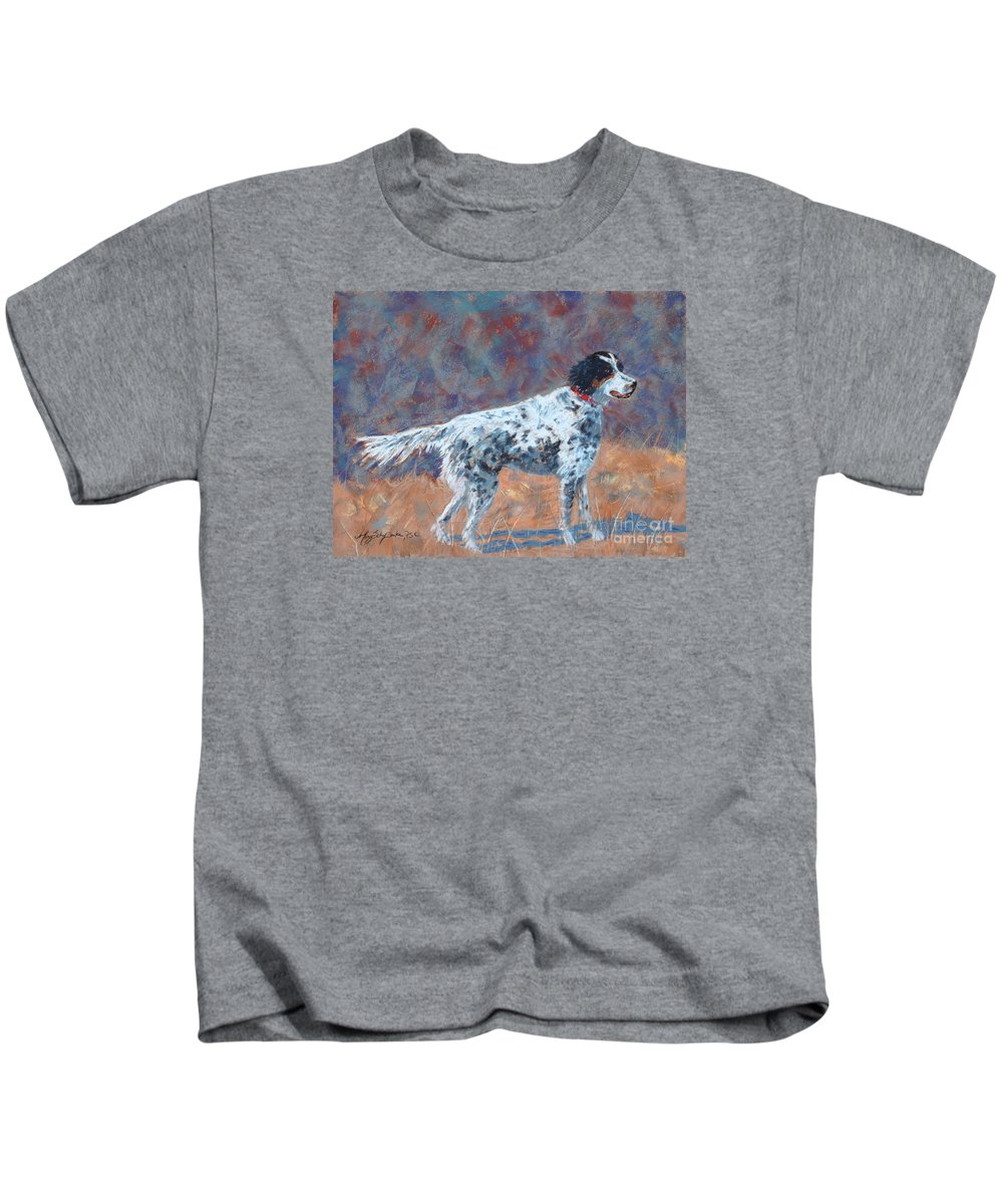 Dogs Kids T-Shirt featuring the painting Hunter On Point by Mary Benke
