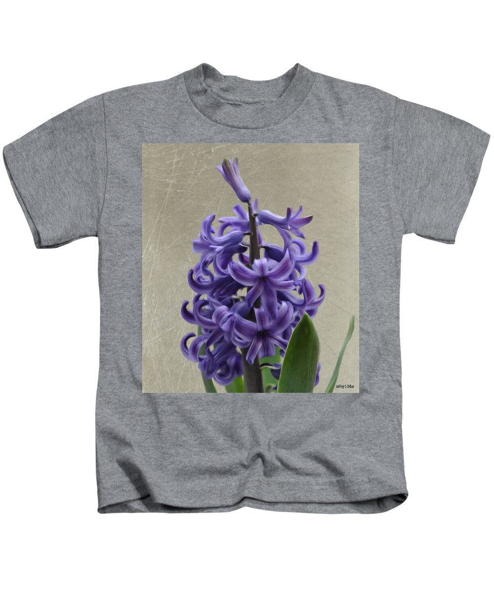 Bloom Kids T-Shirt featuring the painting Hyacinth Purple by Jeffrey Kolker