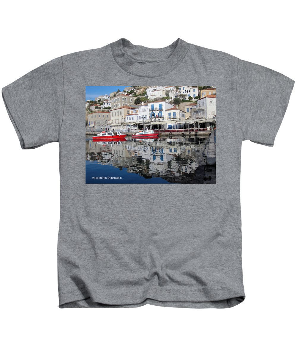 Alexandros Daskalakis Kids T-Shirt featuring the photograph Hydra Port by Alexandros Daskalakis