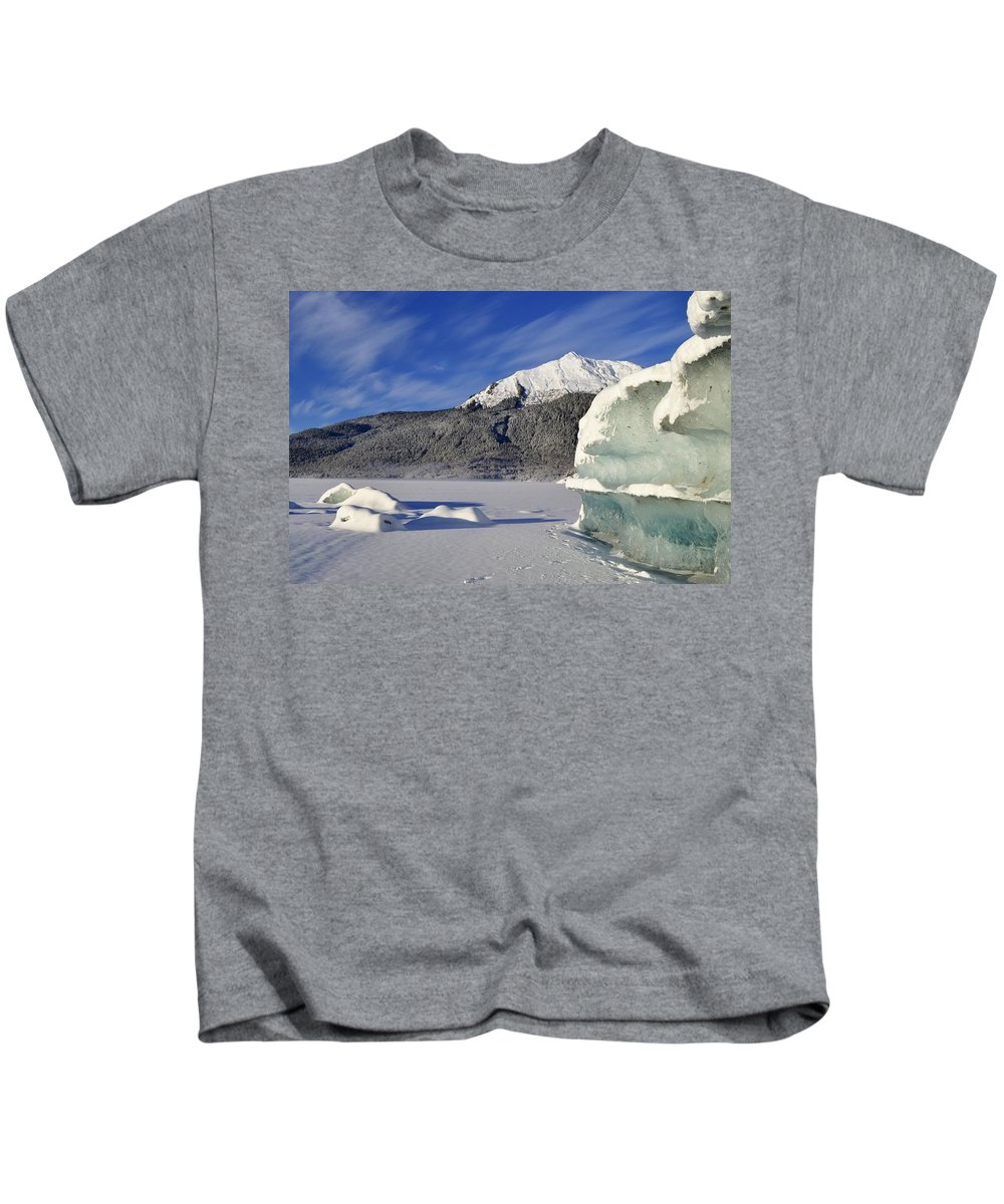 Iceberg Kids T-Shirt featuring the photograph Iceberg And Mount Mcginnis by Cathy Mahnke