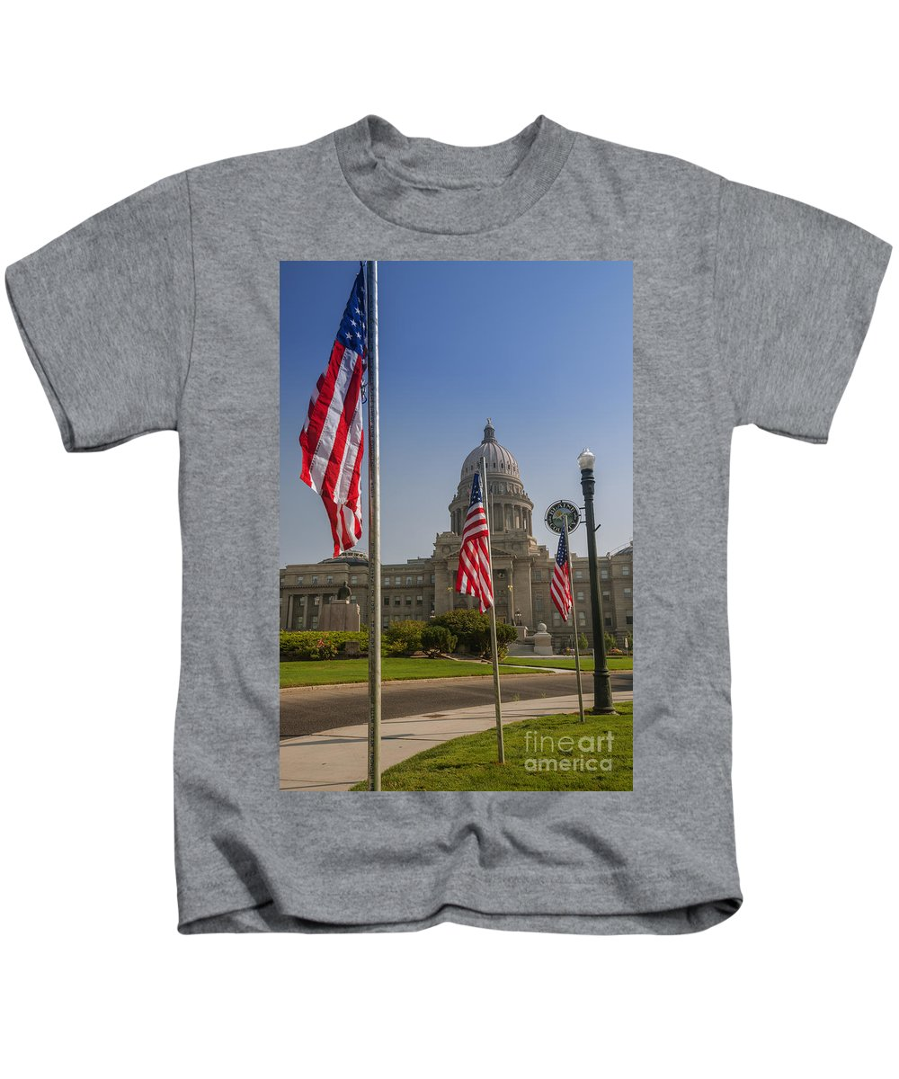 State Capitol Building Kids T-Shirt featuring the photograph Idaho State Capitol In Boise by Vishwanath Bhat