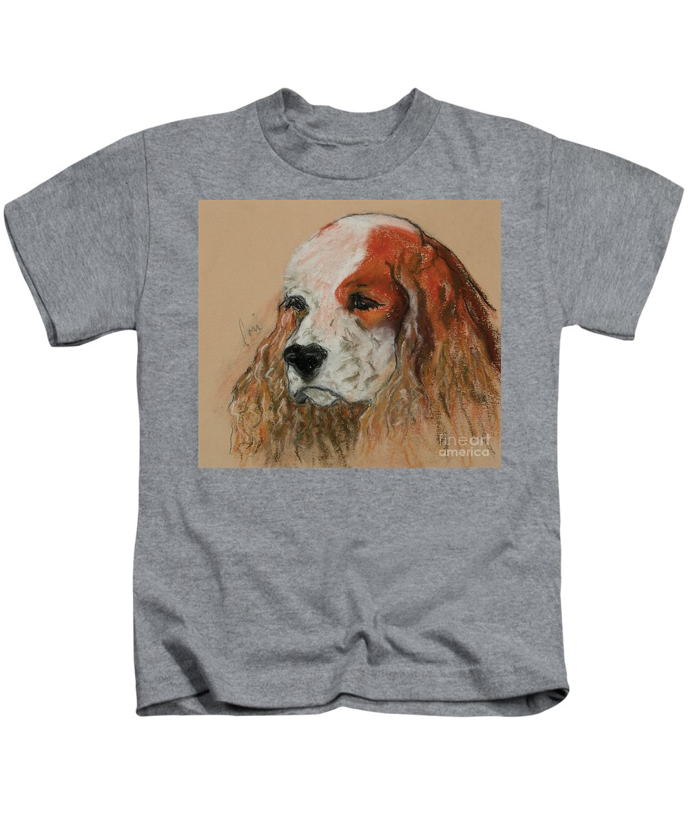 Dog Kids T-Shirt featuring the pastel Idle Thoughts by Cori Solomon