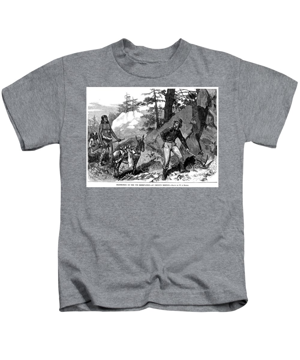 1879 Kids T-Shirt featuring the painting Illegal Prospecting, 1879 by Granger