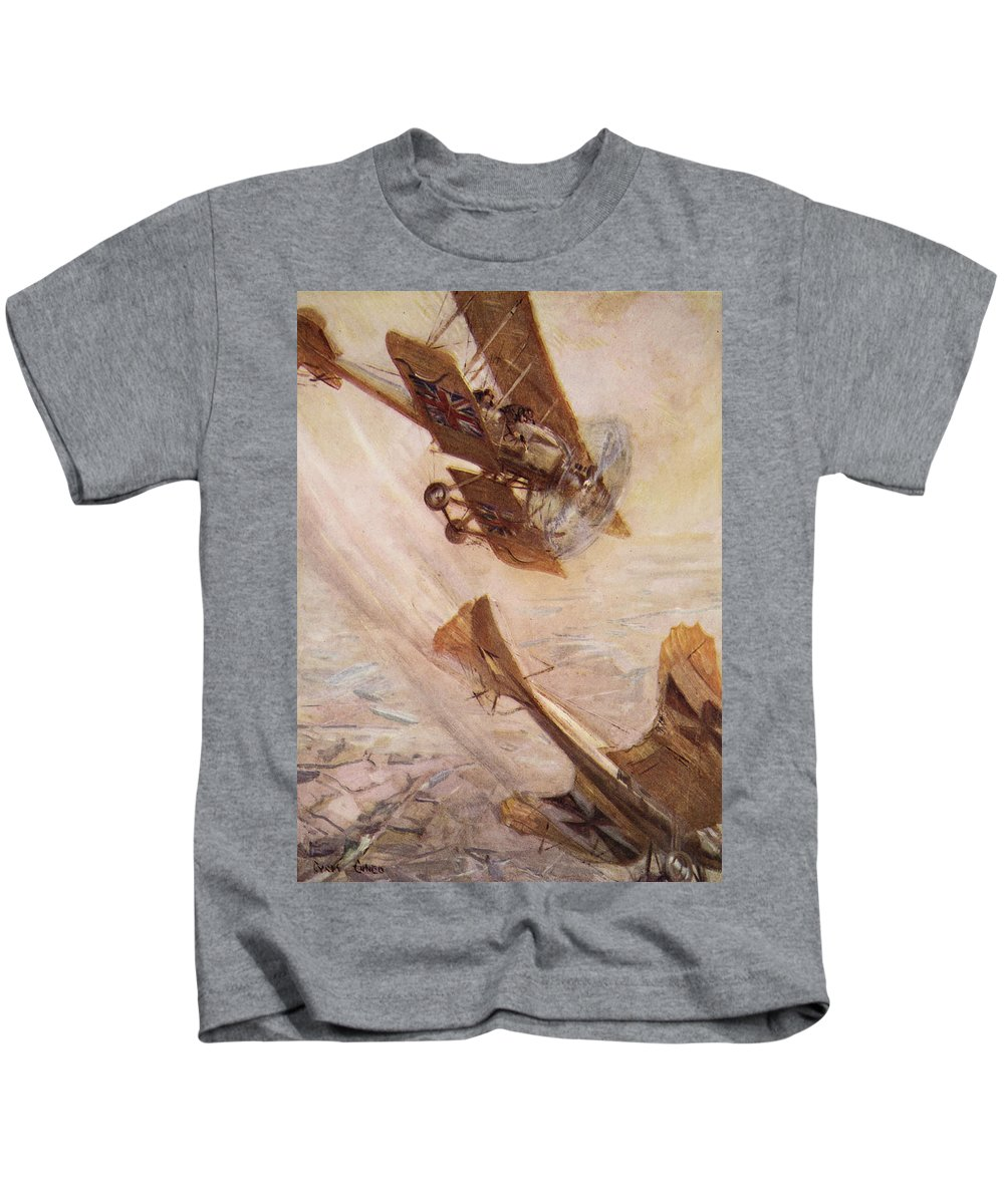World War I Kids T-Shirt featuring the drawing Illustration From Told In The Huts The by Cyrus Cuneo