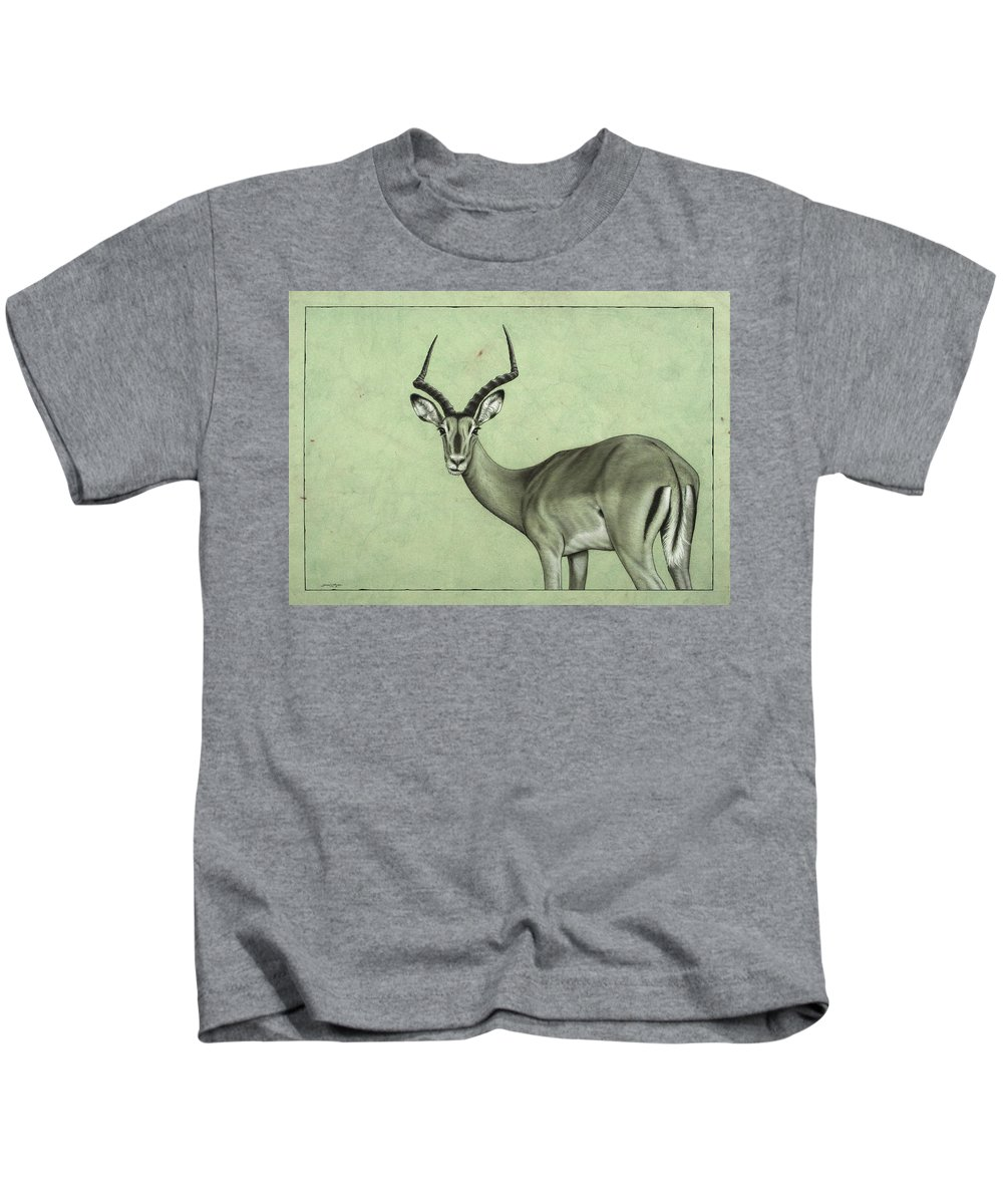 Impala Kids T-Shirt featuring the painting Impala by James W Johnson