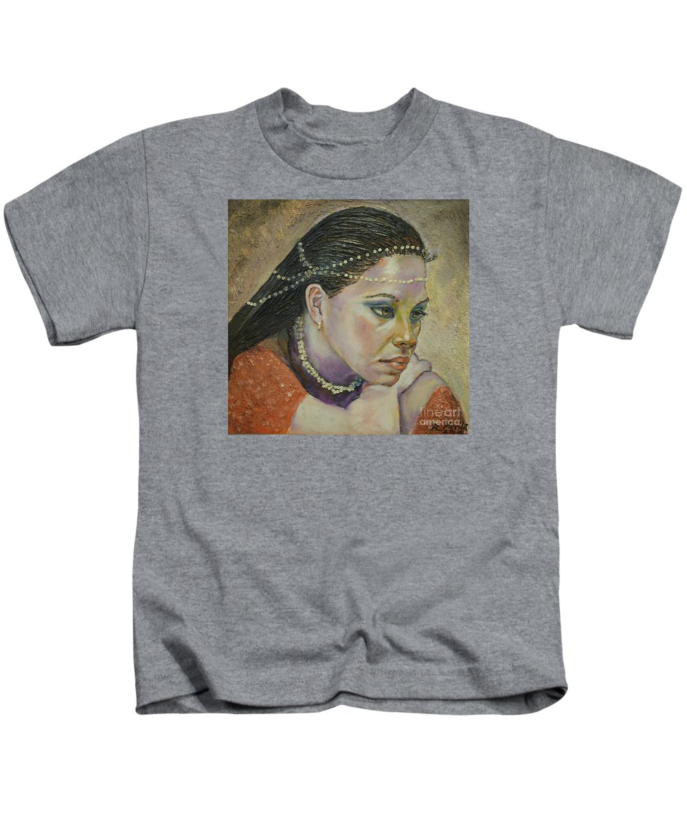 In Her Thougts Kids T-Shirt featuring the painting In Her Thoughts by Raija Merila
