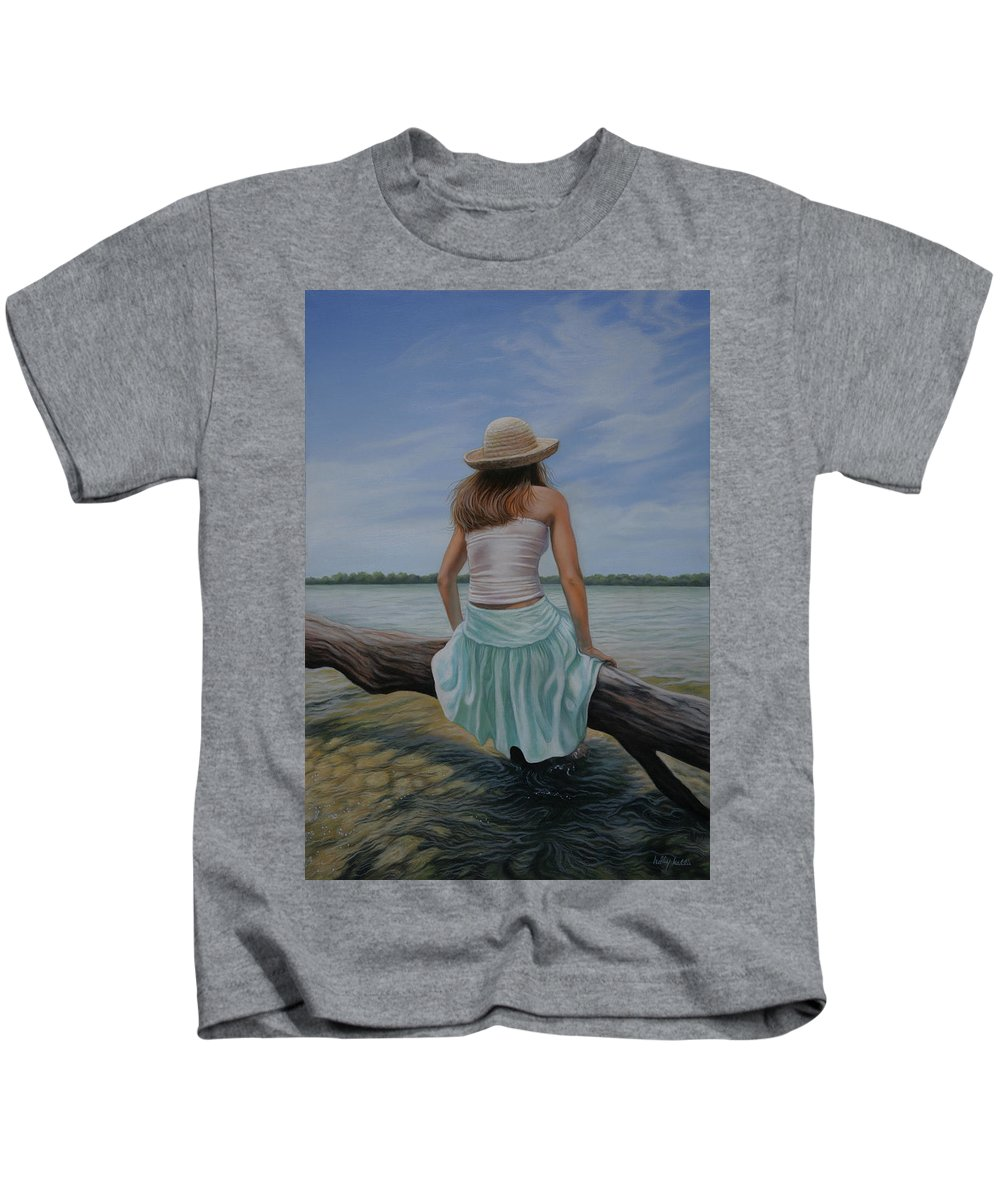 Realistic Kids T-Shirt featuring the painting In The Flow by Holly Kallie