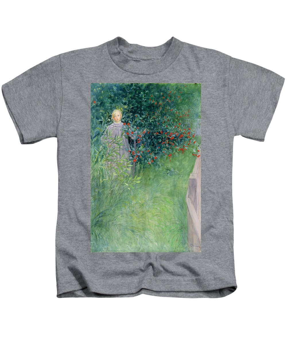 Girl Kids T-Shirt featuring the drawing In The Hawthorn Hedge by Carl Larsson