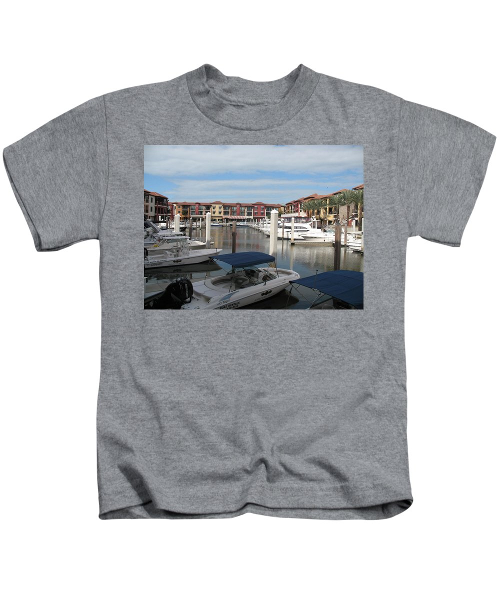 Buildings Kids T-Shirt featuring the photograph Inner Harbor - Naples by Christiane Schulze Art And Photography