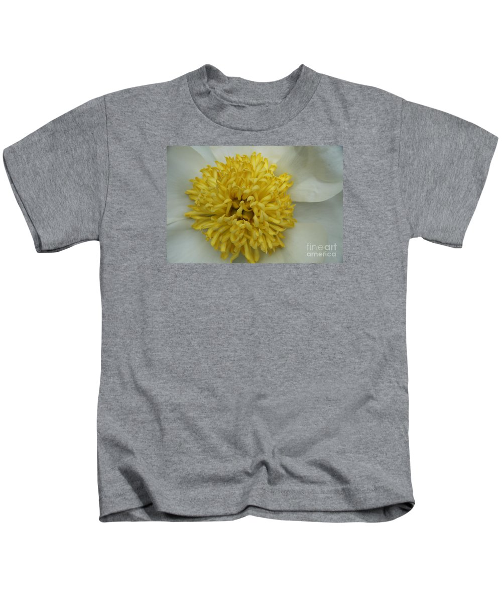 Peony Kids T-Shirt featuring the photograph Inner Section Of A White Peony by Christiane Schulze Art And Photography