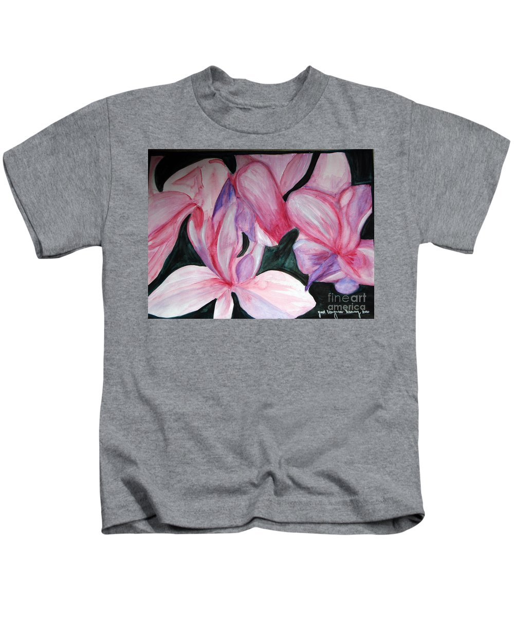 Flower Water Color Abstract Kids T-Shirt featuring the painting Innocence by Yael VanGruber