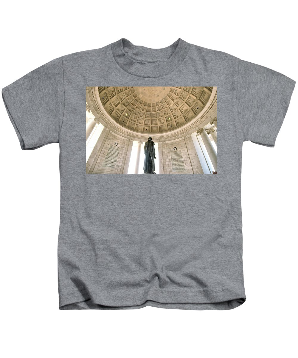 National Mall Kids T-Shirt featuring the photograph Inside The Jeffereson Memorial by Mary Almond