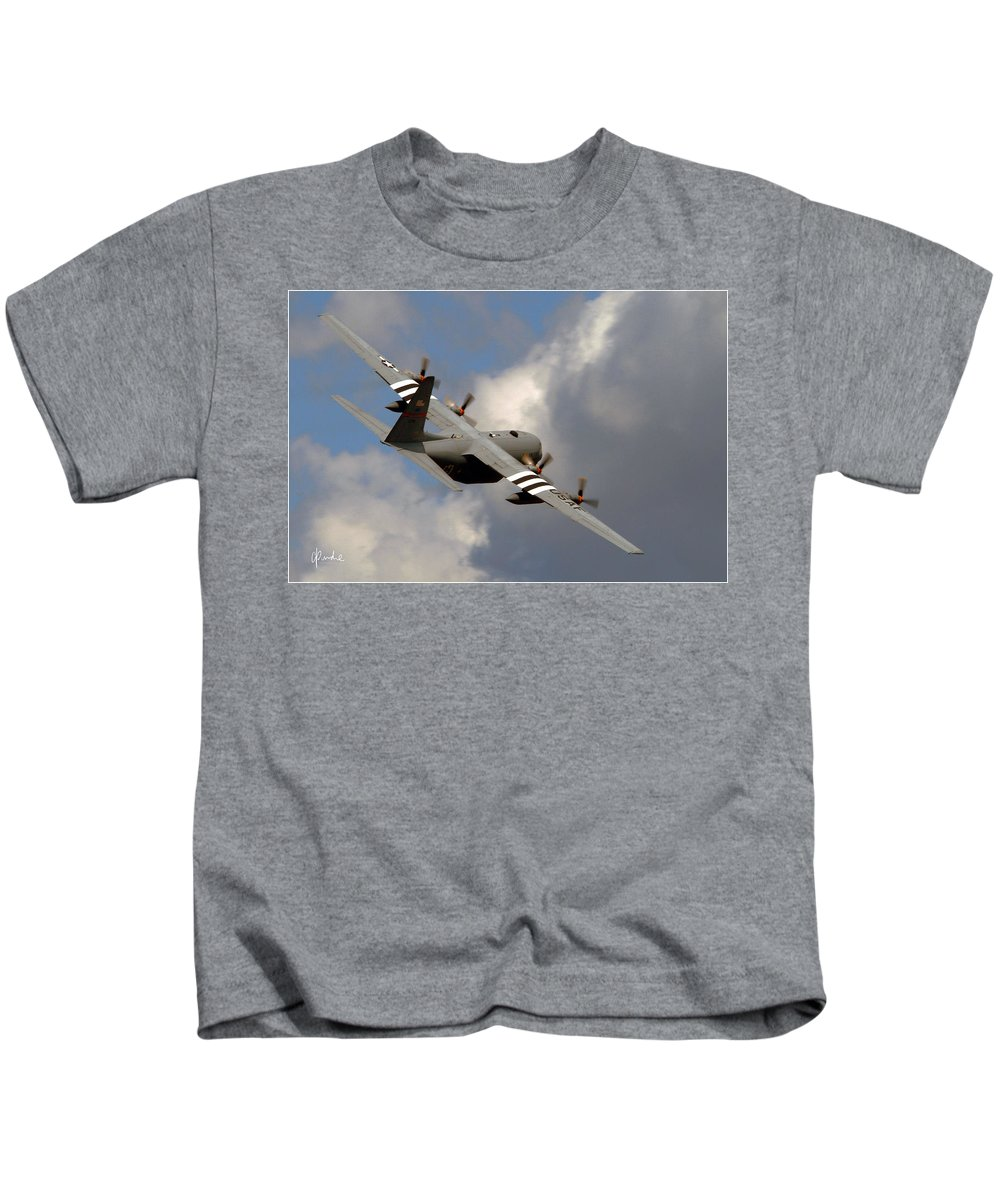 C 130 Kids T-Shirt featuring the photograph Into The Storm by Craig Purdie