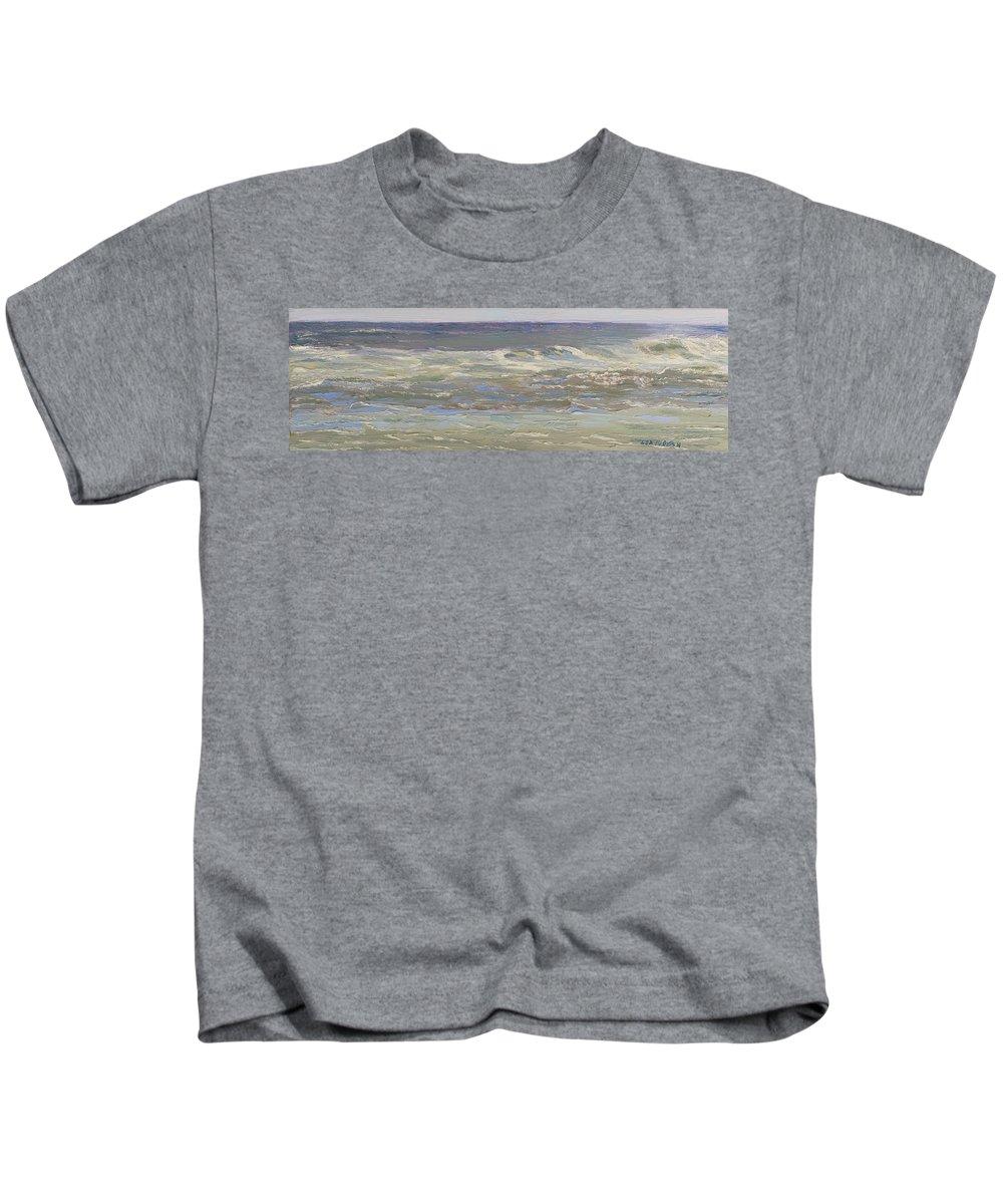 Seascape Kids T-Shirt featuring the painting Island Beach Waves by Lea Novak