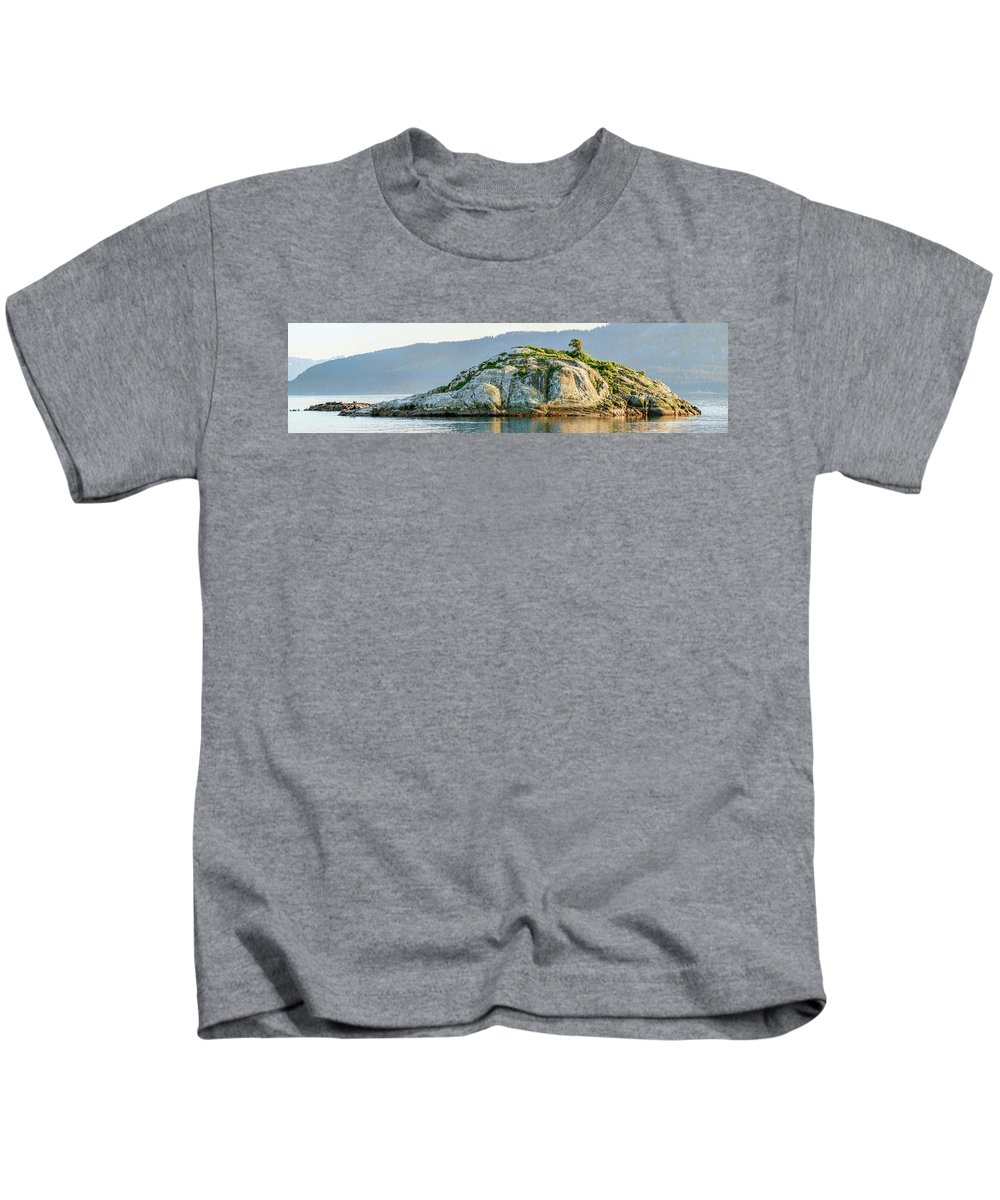 Photography Kids T-Shirt featuring the photograph Island In A Lake, Glacier Bay National by Panoramic Images