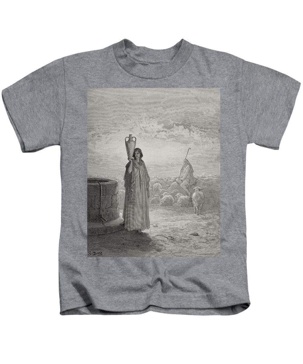 Rachel Kids T-Shirt featuring the painting Jacob Keeping Laban's Flock by Gustave Dore