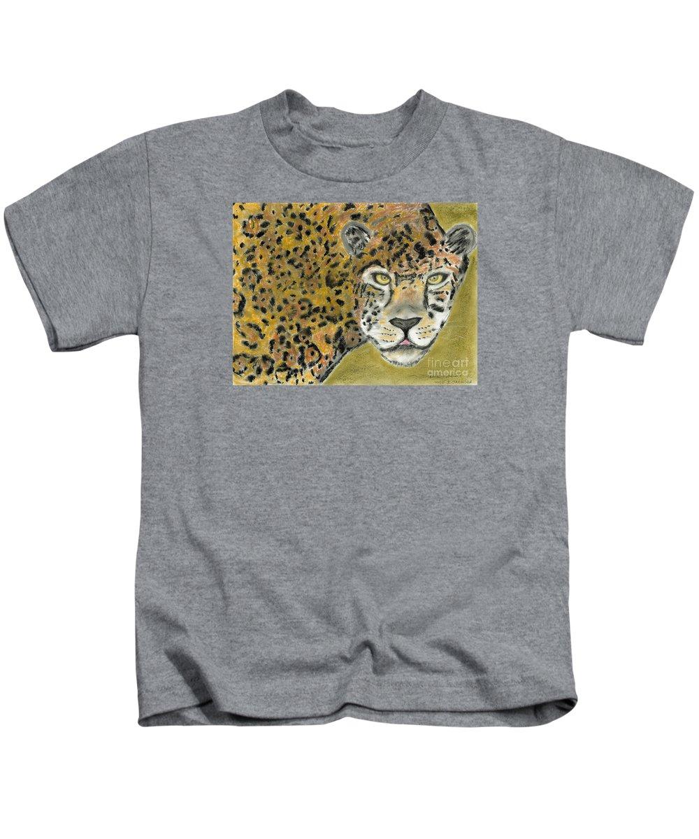 Jaguar Kids T-Shirt featuring the pastel Jaguar by David Jackson