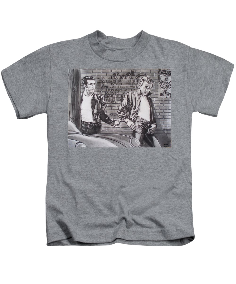 Americana Kids T-Shirt featuring the drawing James Dean Meets The Fonz by Sean Connolly