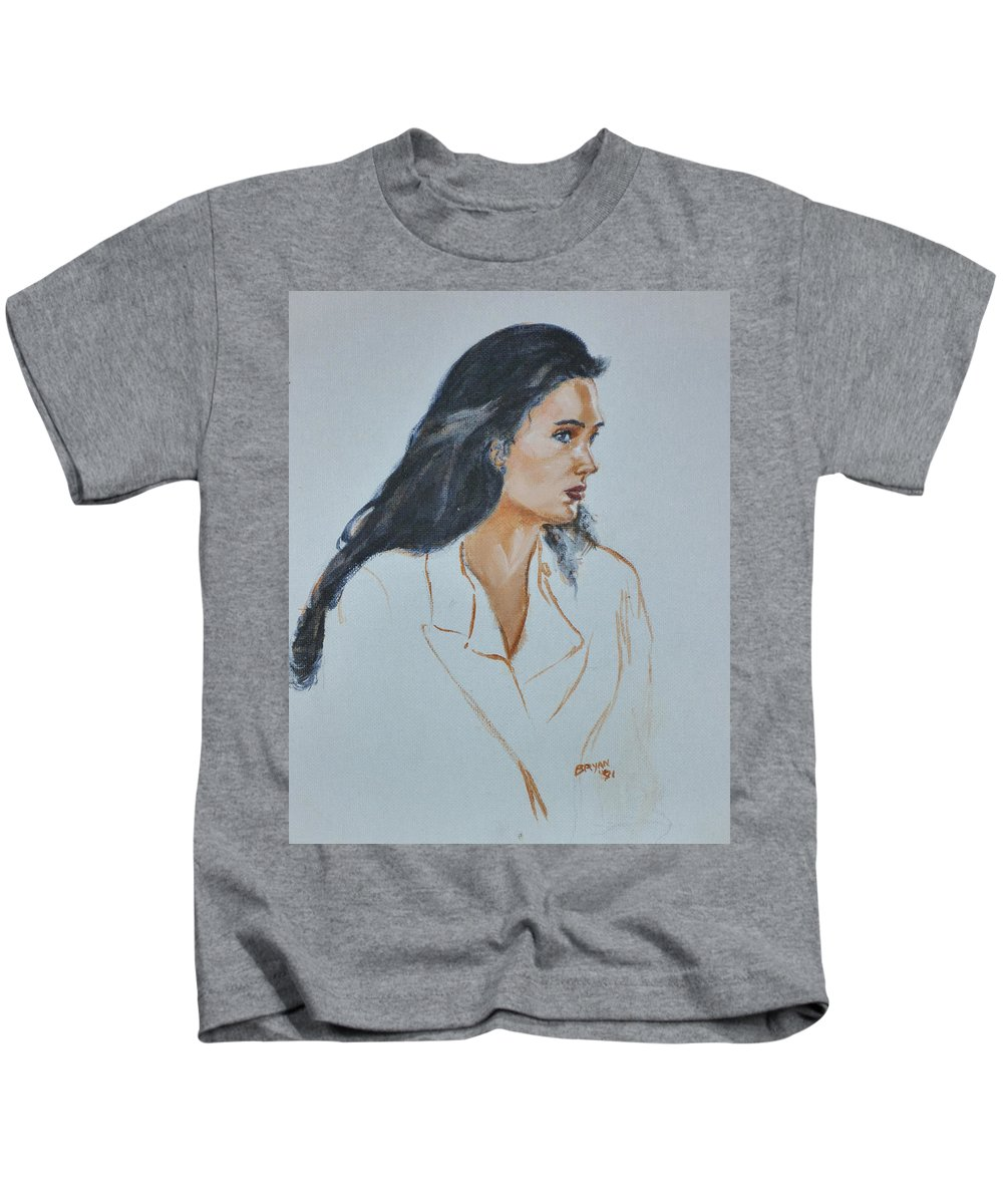 Jennifer Connelly Kids T-Shirt featuring the painting Jennifer Connelly by Bryan Bustard