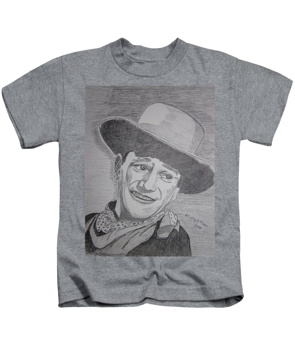 John Wayne Kids T-Shirt featuring the painting John Wayne by Kathy Marrs Chandler