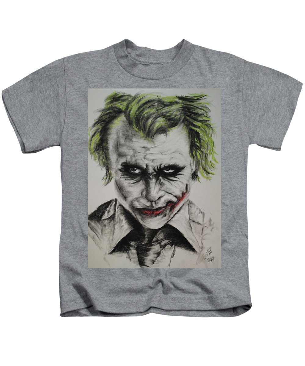 Portrait Kids T-Shirt featuring the drawing Joker by Tim Brandt